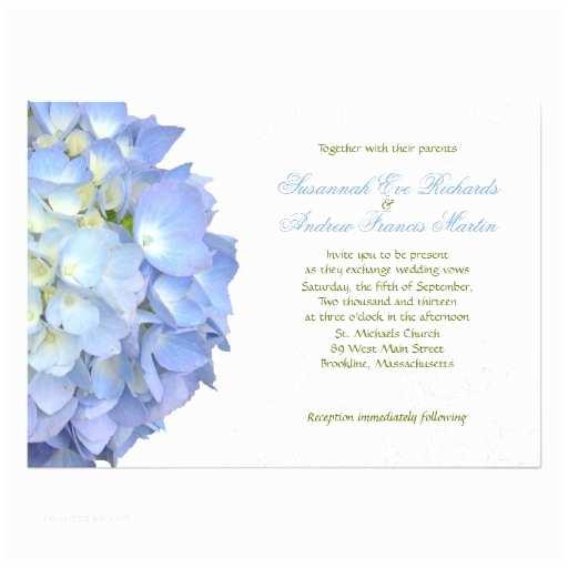 Hydrangea Wedding Invitations Blue Moon Hydrangea Custom Wedding Invitation