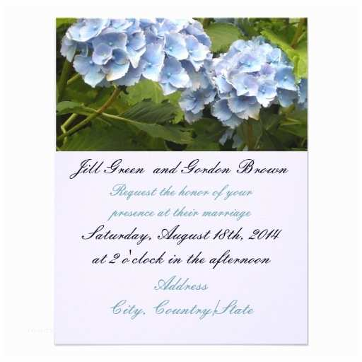 Hydrangea Wedding Invitations Elegant Blue Hydrangea Wedding Invitation