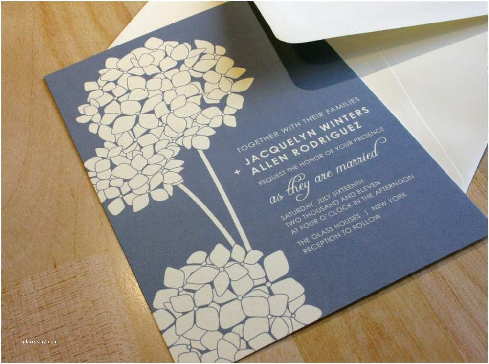 new sample hydrangea blooms wedding invitation