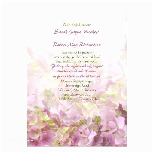 Hydrangea Wedding Invitations Pink Sea Hydrangea Wedding Invitations Vertical