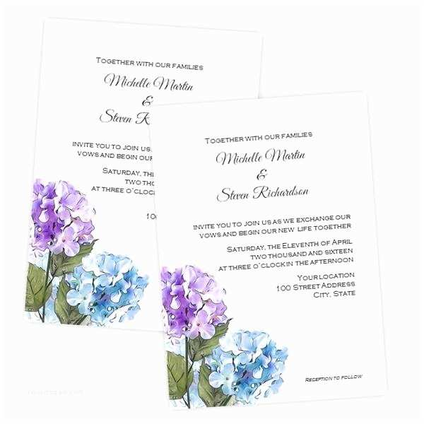 Hydrangea Wedding Invitations Purple & Blue Hydrangea Wedding Invitation – A J S Prints