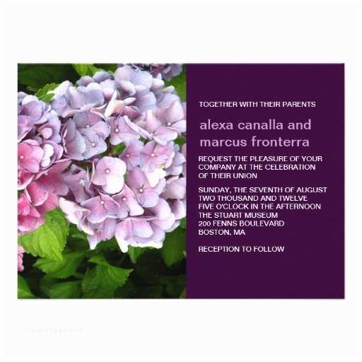 Hydrangea Wedding Invitations Purple Hydrangea Wedding Invitation