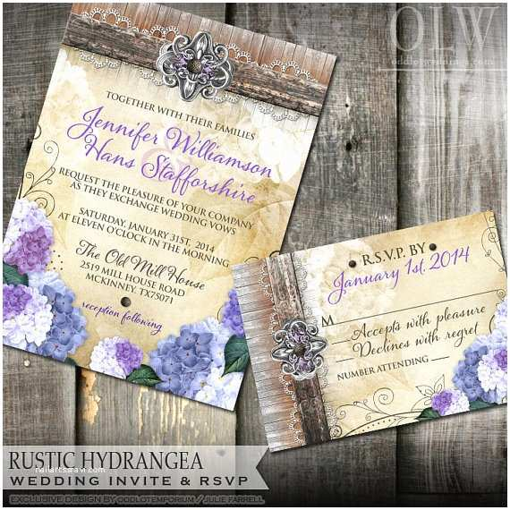 Hydrangea Wedding Invitations Rustic Hydrangea Wedding Invitation and Rsvp Stationery