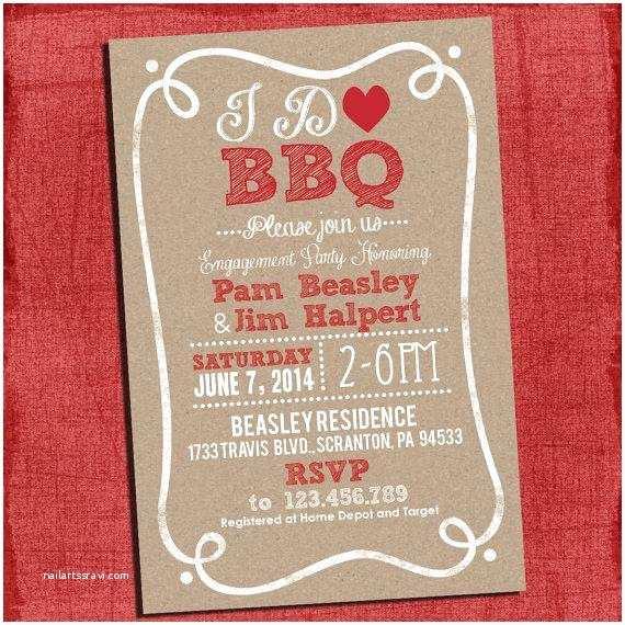 "I Do Bbq Wedding Reception Invitations Printable Rustic ""i Do"" Bbq Barbecue Couples Coed Wedding"