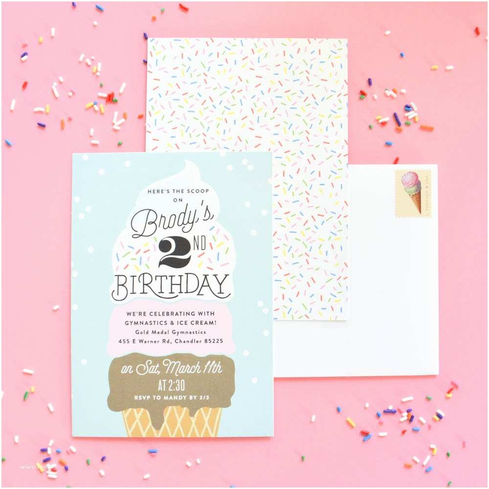 """Ice Cream Birthday Party Invitations A """"two"""" Sweet Ice Cream Birthday Party Project Nursery"""