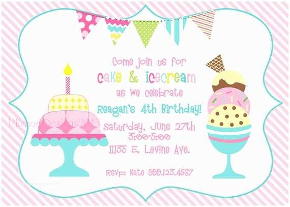 Ice Cream Birthday Party Invitations Cake and Ice Cream Birthday Party Invitation by