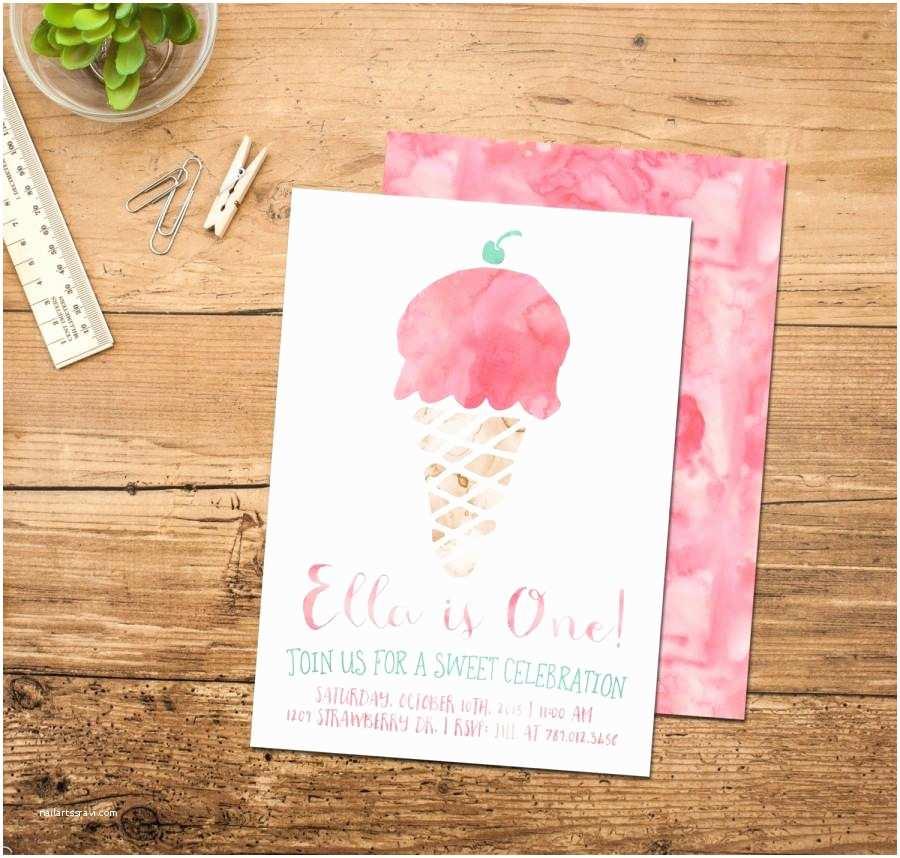 Ice Cream Birthday Party Invitations Ice Cream Birthday Invitation Ice Cream Cone Social