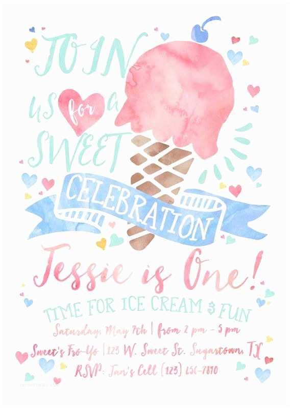 Ice Cream Birthday Party Invitations Ice Cream Birthday Invitation Sweet Celebration