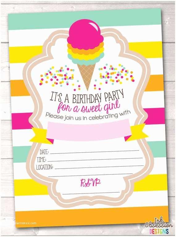 Ice Cream Birthday Party Invitations Ice Cream Birthday Party Invitation For Girls