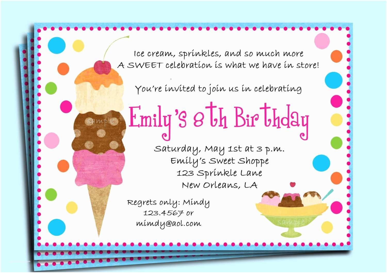 Ice Cream Birthday Party Invitations Ice Cream Birthday Party Invitation Printable or Printed with
