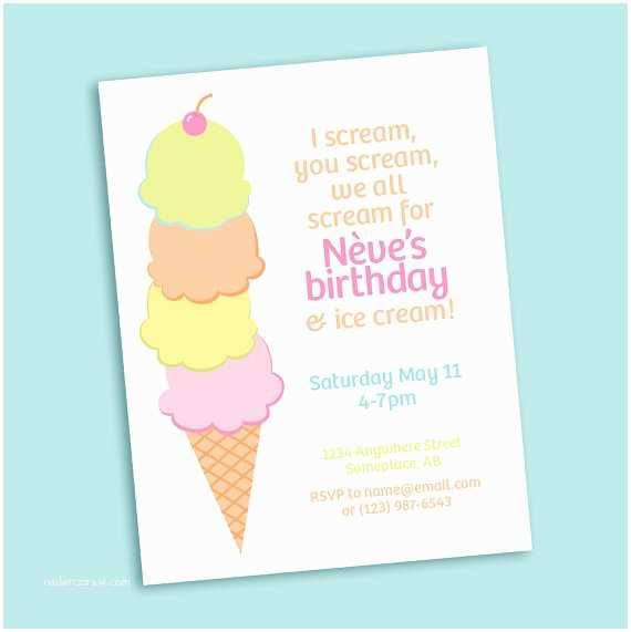 Ice Cream Birthday Party Invitations Ice Cream Cone Printable Party Invitation For Birthday