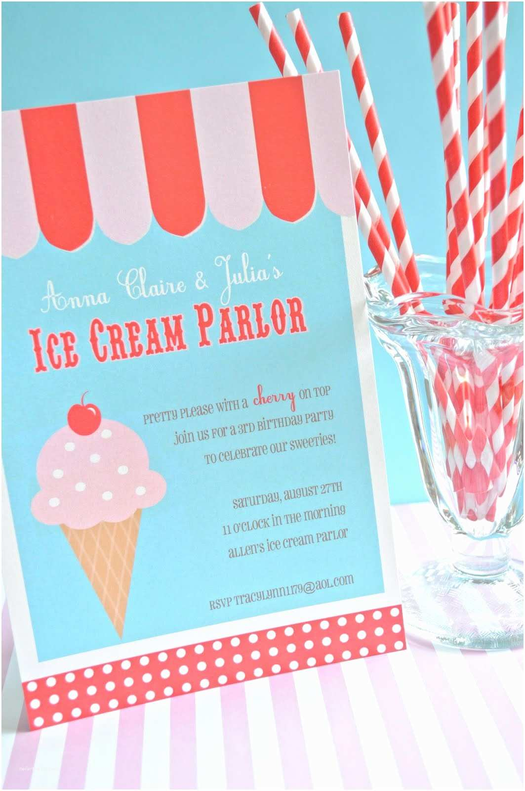 Ice Cream Birthday Party Invitations Ice Cream Parlor Party Invitations Sweet Peach Paperie