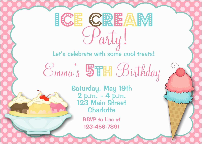 Ice Cream Birthday Party Invitations Ice Cream Party Birthday Invitation Ice Cream by