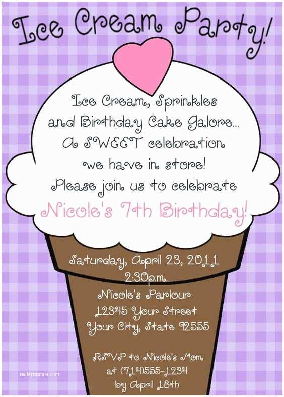 Ice Cream Birthday Party Invitations Ice Cream Party Birthday Invitation You Print 5 Designs