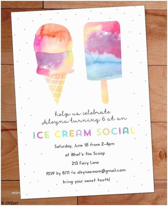 Ice Cream Birthday Party Invitations Ice Cream Party Invitation Ice Cream Birthday Party