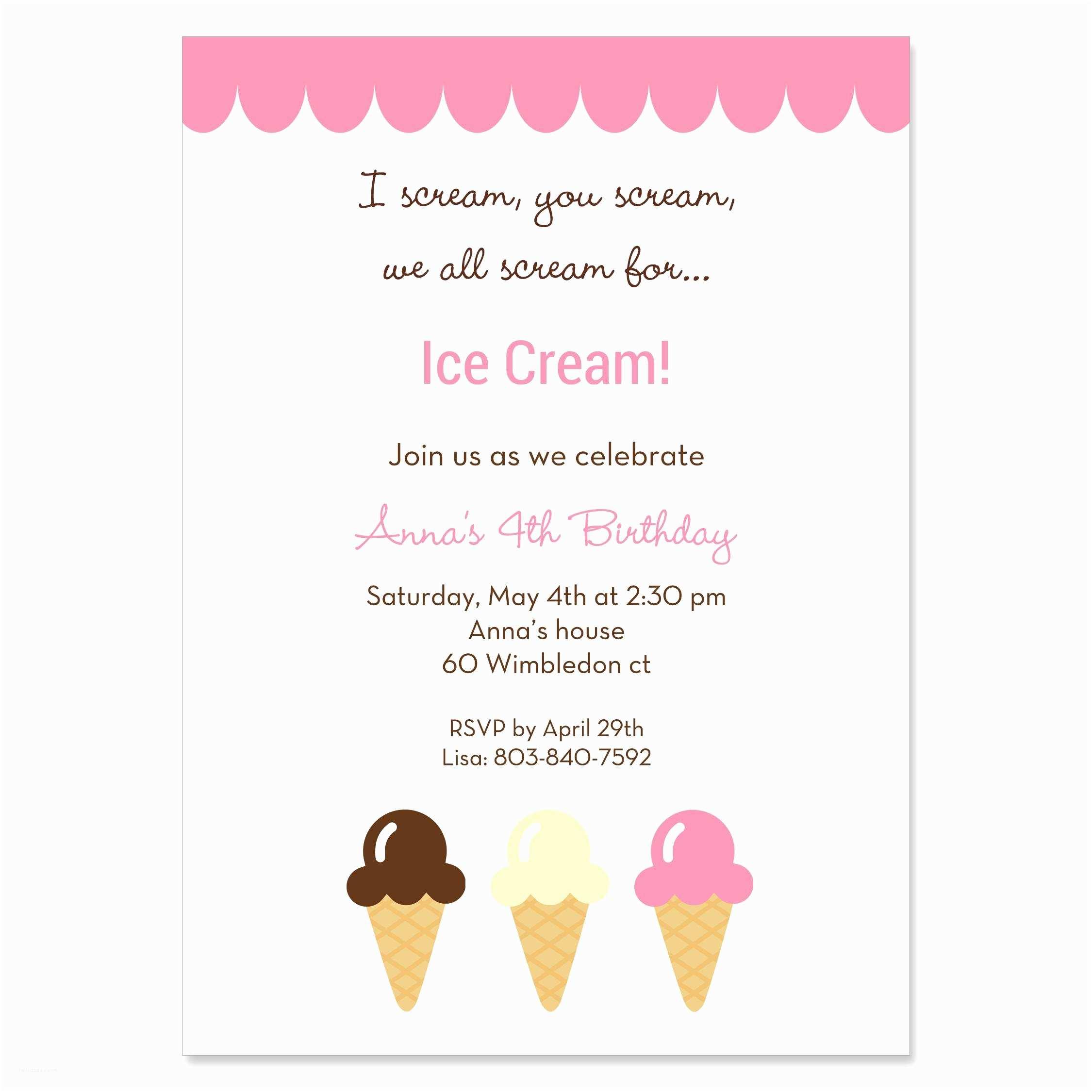 Ice Cream Birthday Party Invitations Ice Cream Party Invitations