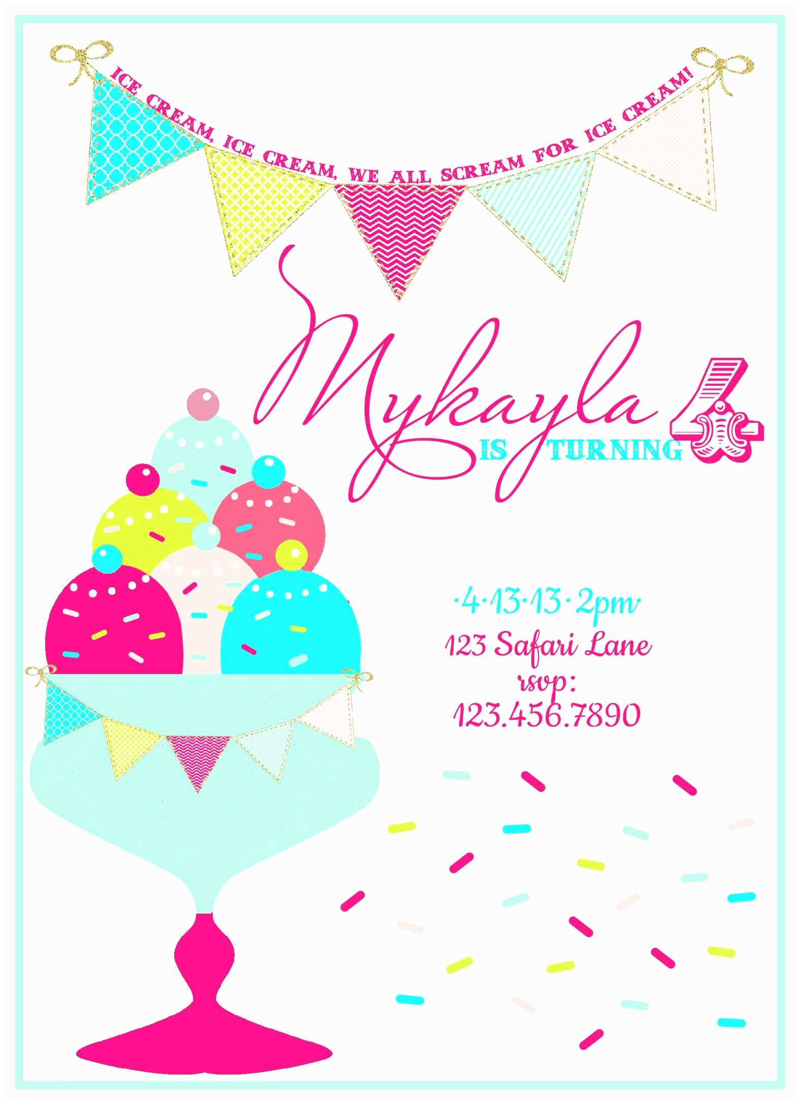 image regarding Ice Cream Party Invitations Printable Free titled Ice Product Birthday Celebration Invites 4 Simplest Of Totally free