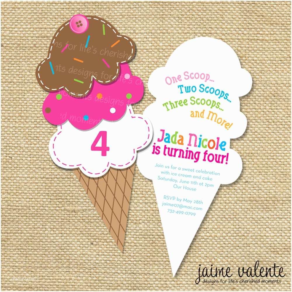 Ice Cream Birthday Party Invitations Items Similar to Ice Cream Cone Birthday Invitation On Etsy