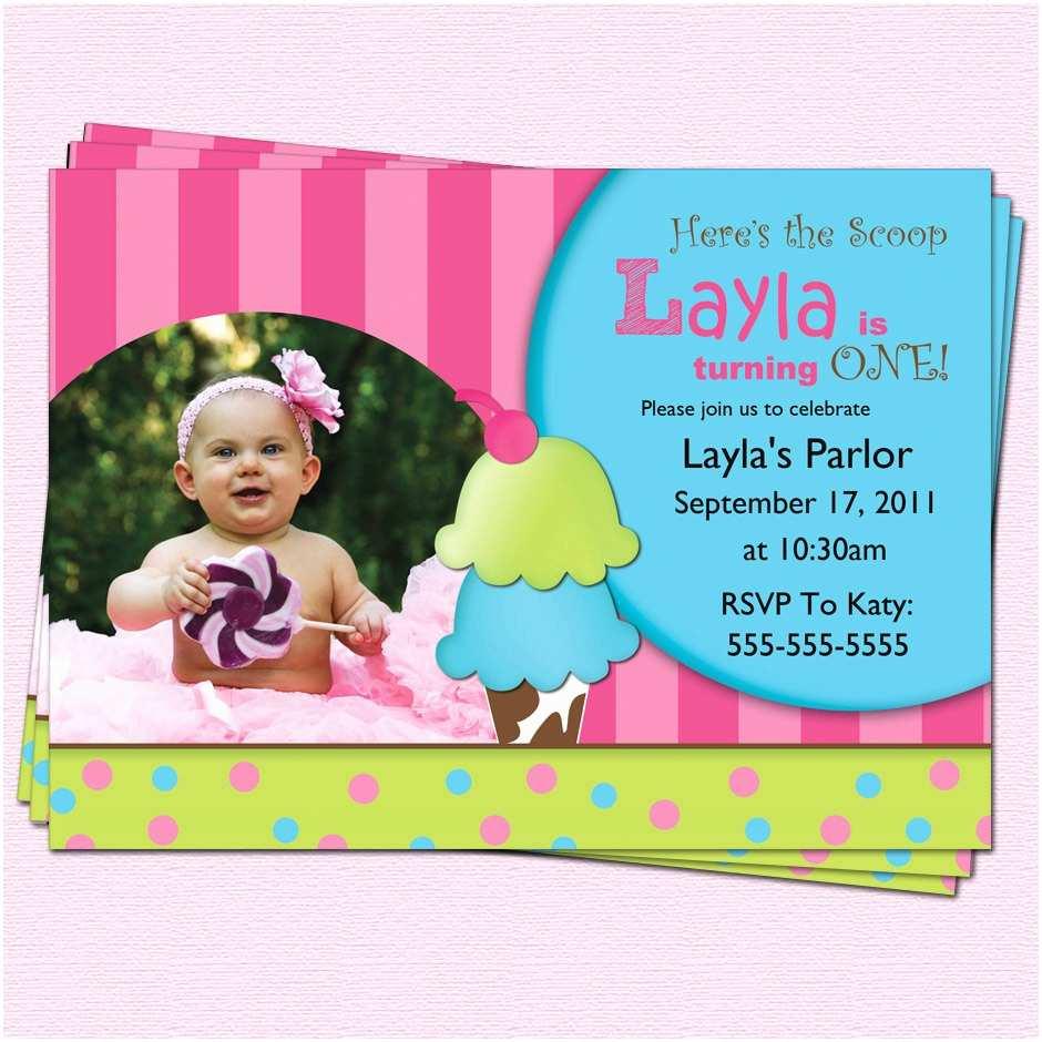 Ice Cream Birthday Party Invitations Owl 1st Birthday Invitations Ideas – Bagvania Free