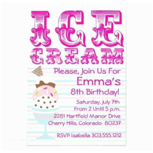 "Ice Cream Birthday Party Invitations Pastel Ice Cream Birthday Party Invitation 5"" X"
