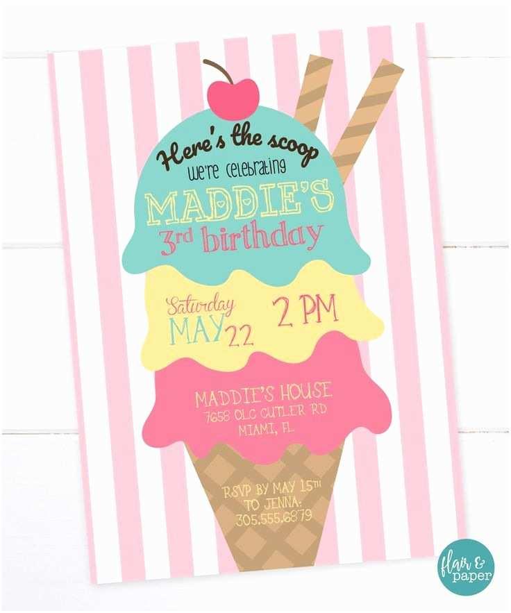 Ice Cream Birthday Party Invitations The 25 Best Birthday Invitations Ideas On