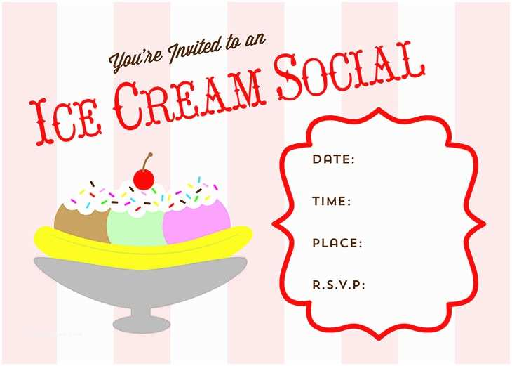 Ice Cream Party Invitations Free Printable Ice Cream social Invitation From