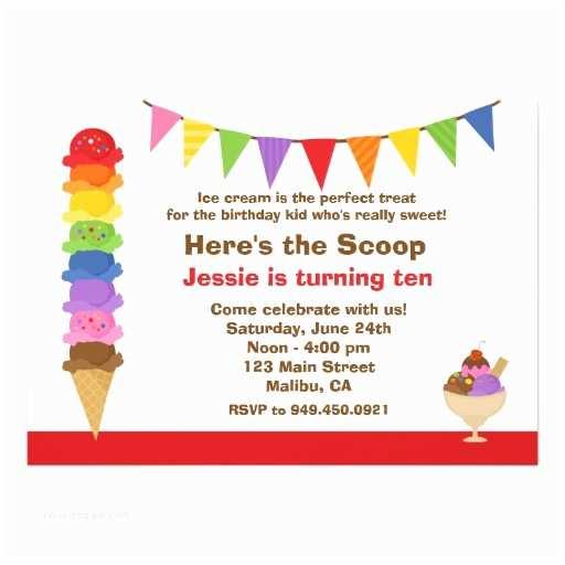 Ice Cream Party Invitations Ice Cream Birthday Party Evites