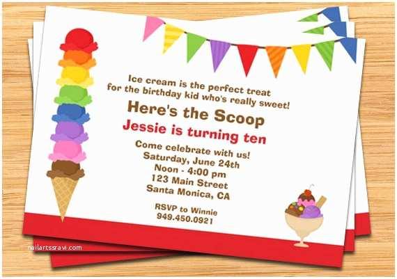 Ice Cream Party Invitations Ice Cream Birthday Party Invitation