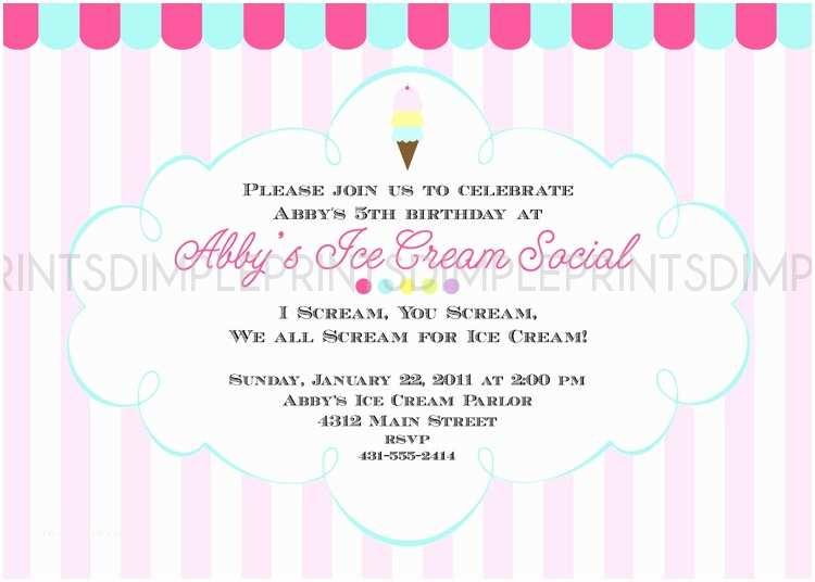 Ice Cream Party Invitations Ice Cream social Printable Party Invitation Dimple
