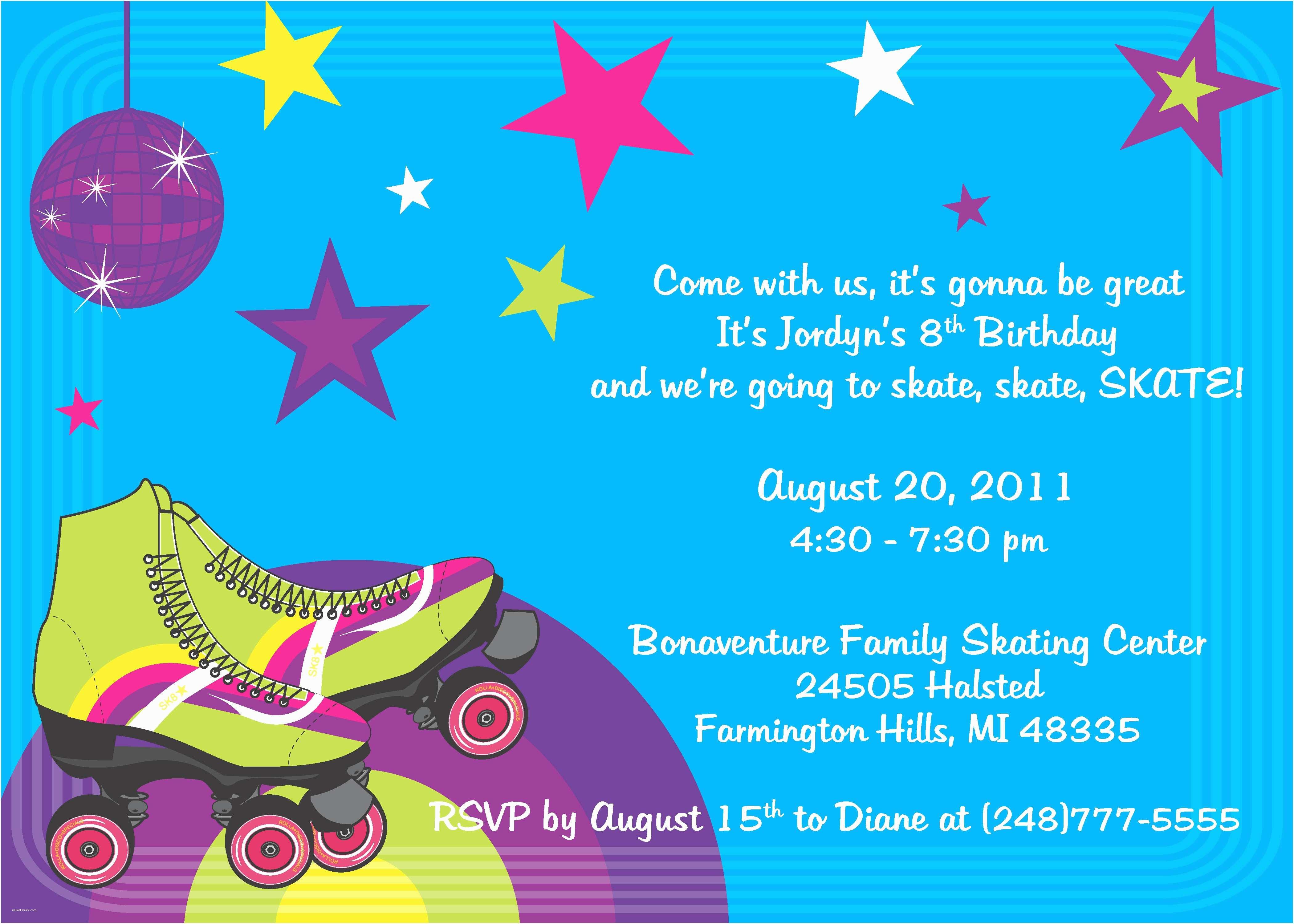 skating party invitations free printables