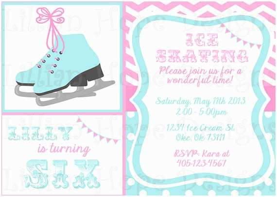 Ice Skating Party Invitations Ice Skating Birthday Party Invitations