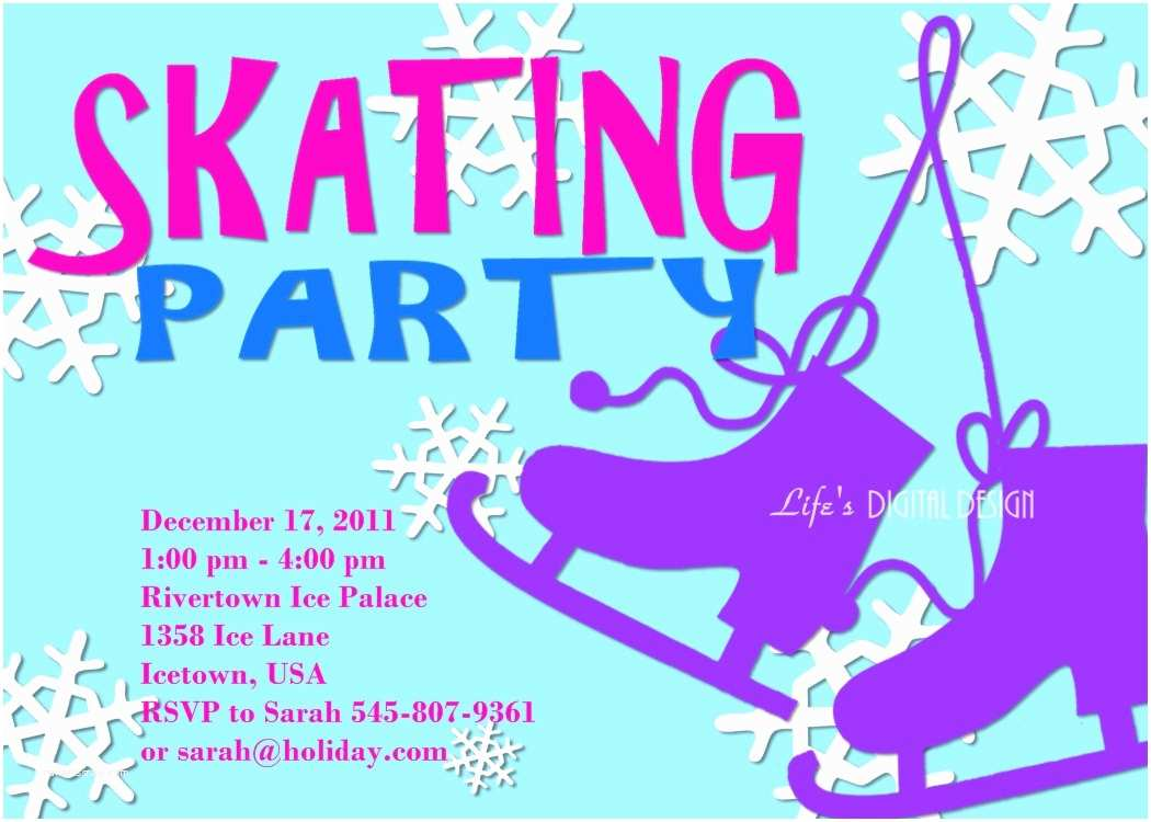 Ice Skating Party Invitations Ice Skating Party Invitation Customizable Printable 4x6 or 5x7