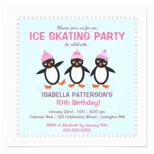 Ice Skating Party Invitations Personalized Ice Skate Invitations