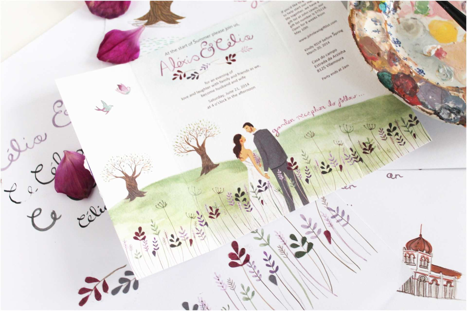 Illustrated Wedding Invitations 301 Moved Permanently