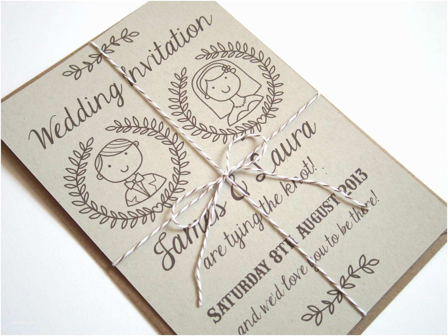 Illustrated Wedding Invitations Country Couple Personalised Illustrated Wedding Invitation