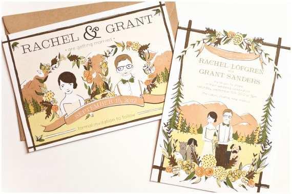 Illustrated Wedding Invitations Custom Illustrated Wedding Invitation Deposit by Amyheitman