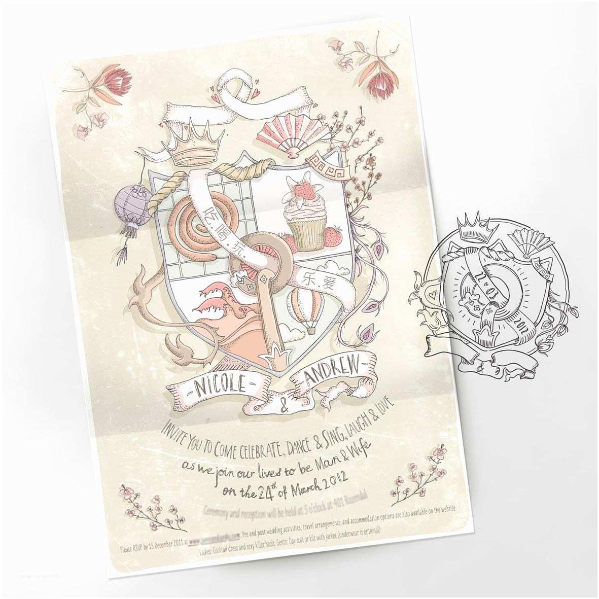 Illustrated Wedding Invitations Custom Illustrated Wedding Invitations From