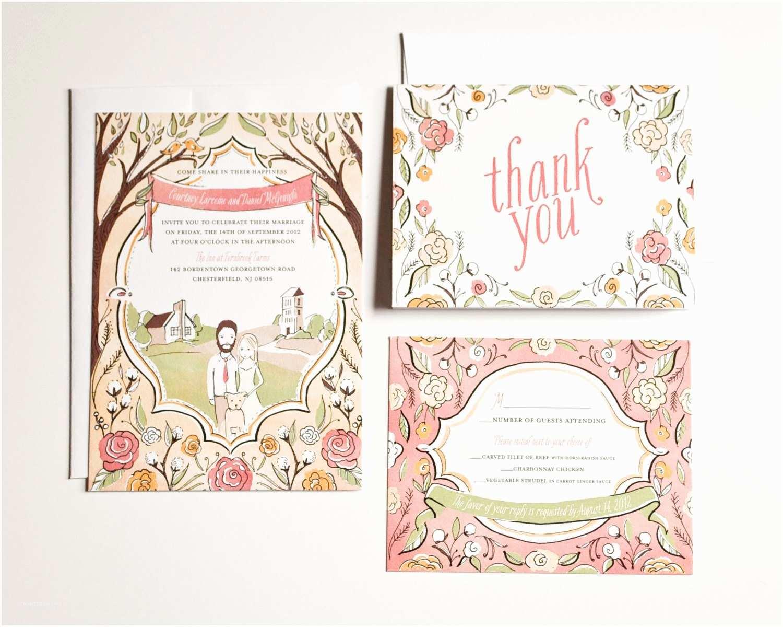 Illustrated Wedding Invitations Custom Wedding Invitation Hand Drawn Illustrated by Amyheitman