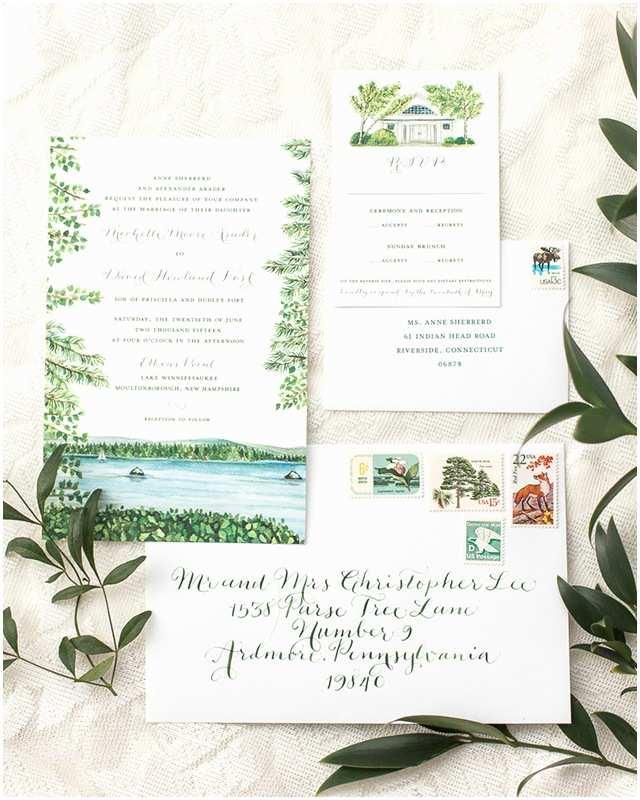 Illustrated Wedding Invitations Illustrated Lakeside Wedding Invitations