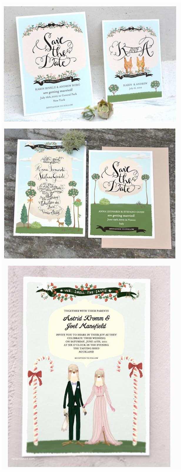 Illustrated Wedding Invitations Illustrated Wedding Invitations Rustic Wedding Chic
