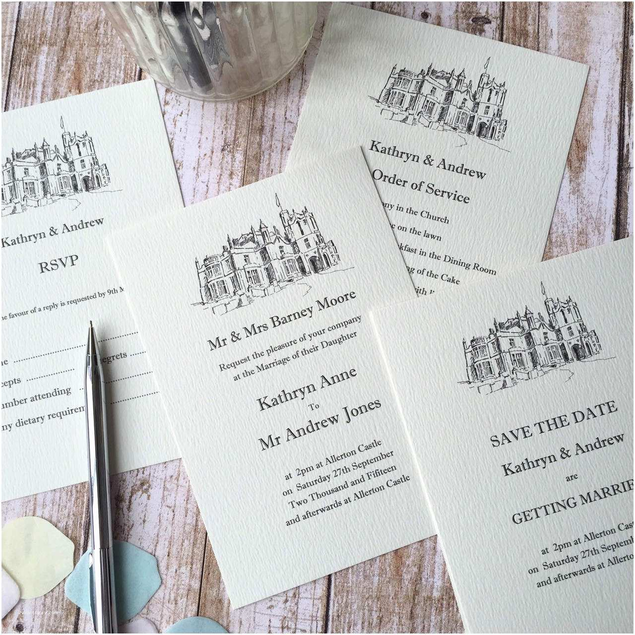 Illustrated Wedding Invitations Illustrated Wedding Venue Invitations Wagtail Designs