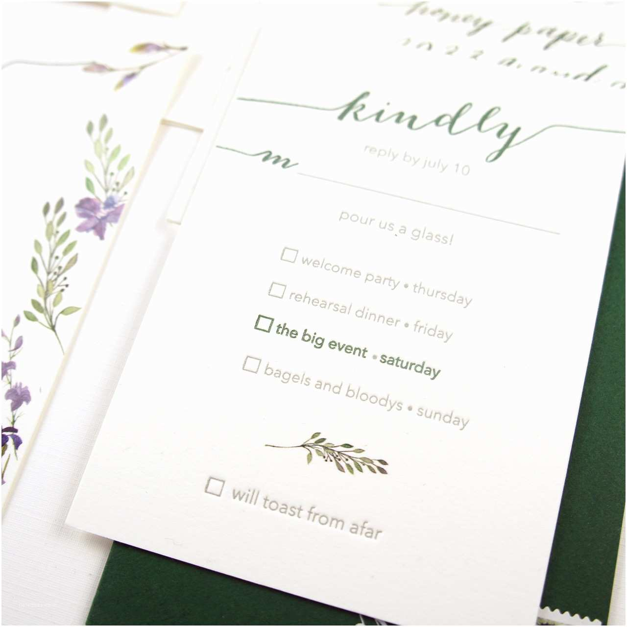 Illustrated Wedding Invitations Illustrated Wildflower Wedding Invitations