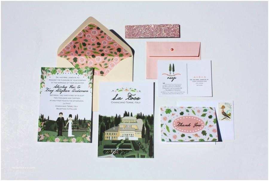 Illustrated Wedding Invitations Invite Card Rsvp & Map Reception Card Custom