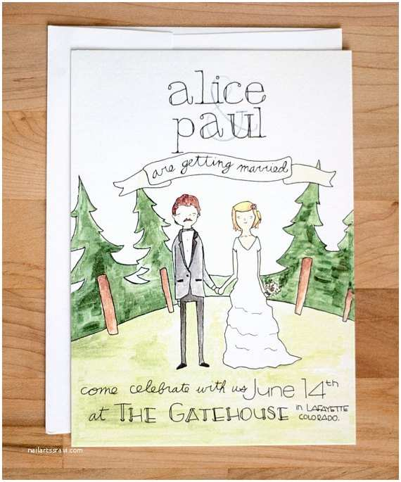 Illustrated Wedding Invitations Items Similar to Illustrated Wedding Invitation Couple