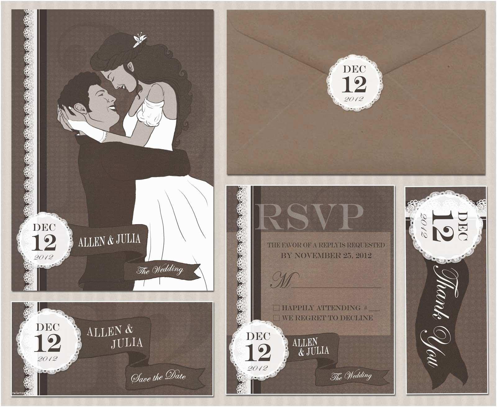Illustrated Wedding Invitations Linnica Vintage Illustrated Wedding Invitation