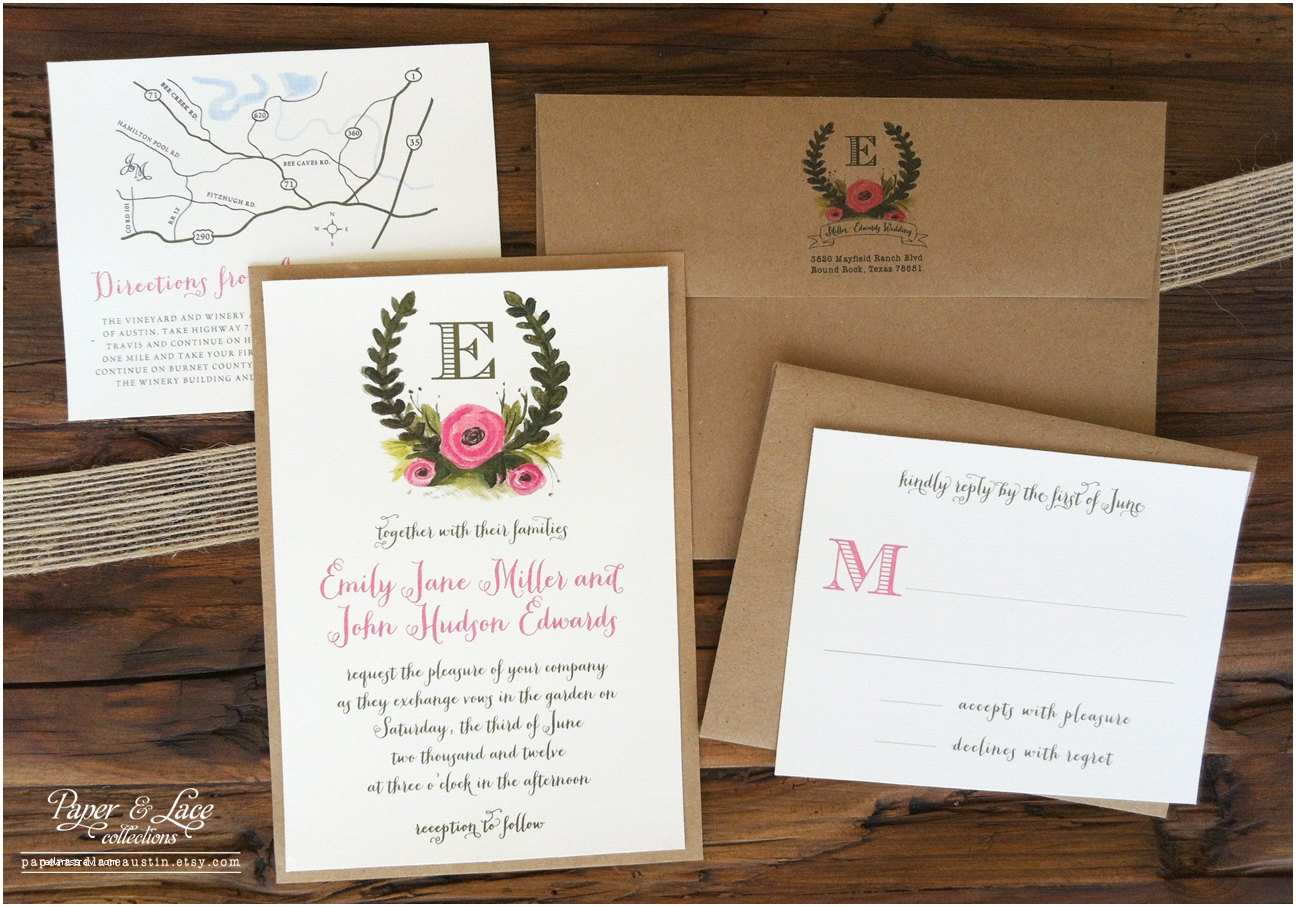 Illustrated Wedding Invitations Rustic Illustrated Wedding Invitation Set