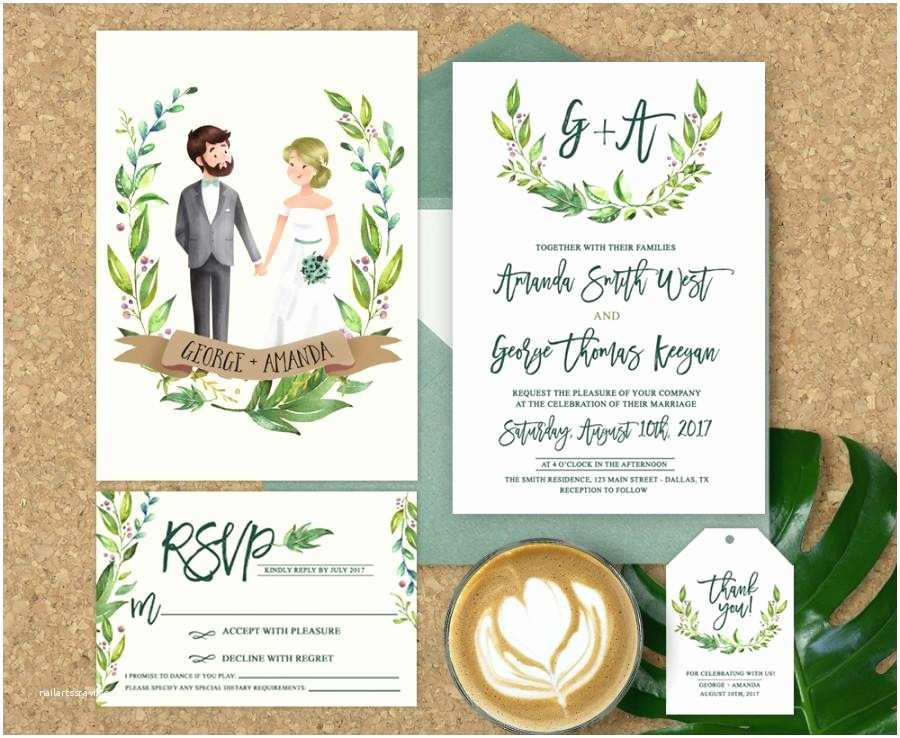 Illustrated Wedding Invitations Wedding Invitation Illustrated Illustrated Couple Wedding
