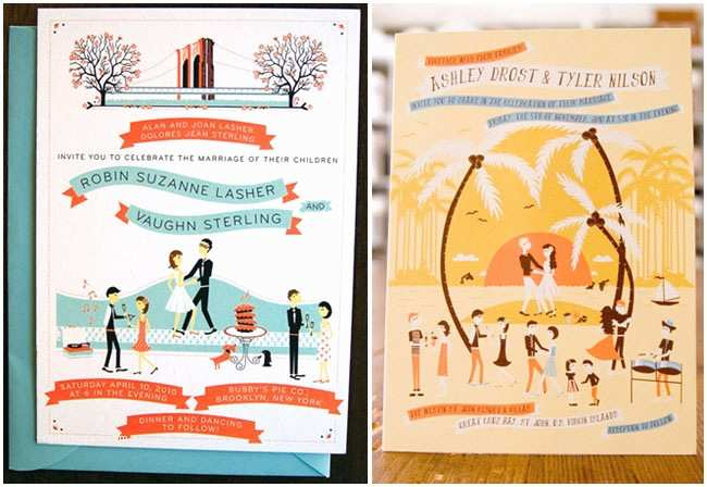 Illustrated Wedding Invitations Whimsical Wedding Invitations From Anna Hurley