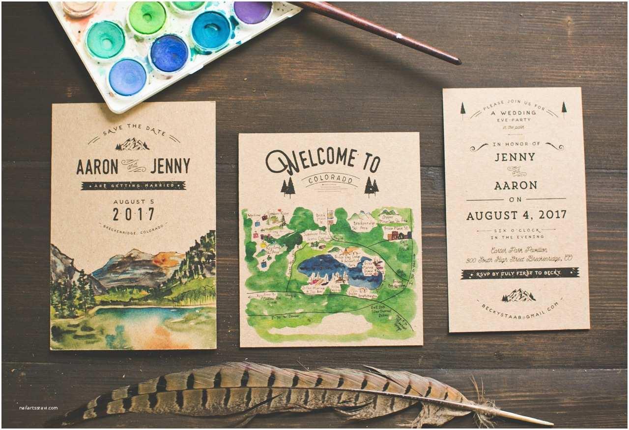 Illustrated Wedding Invitations Woodsy Illustrated Wedding Invitations