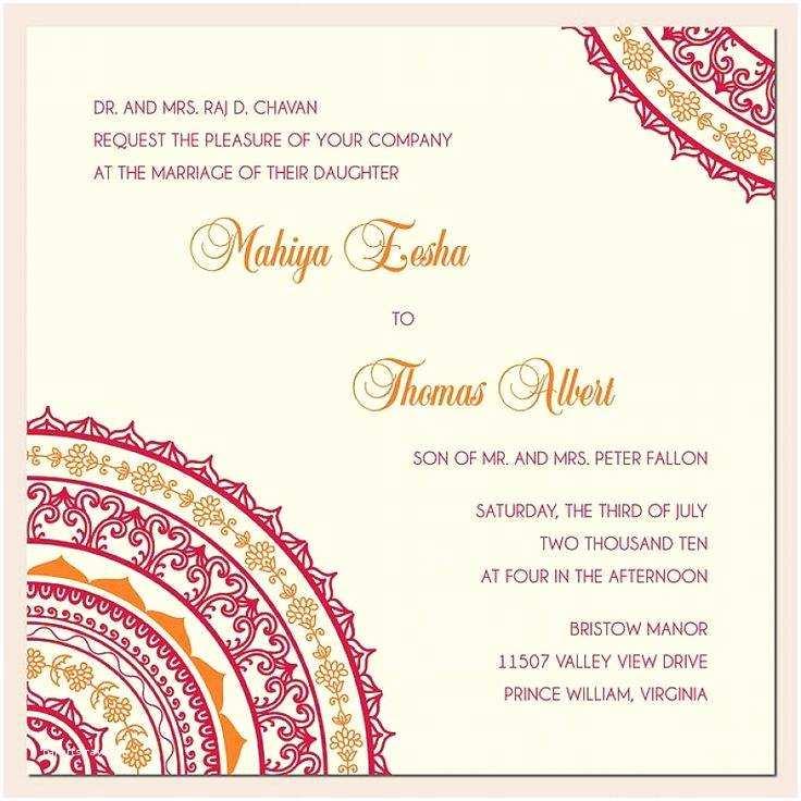 Indian Wedding Invitation Card Template Unique Wedding Invitation Wording